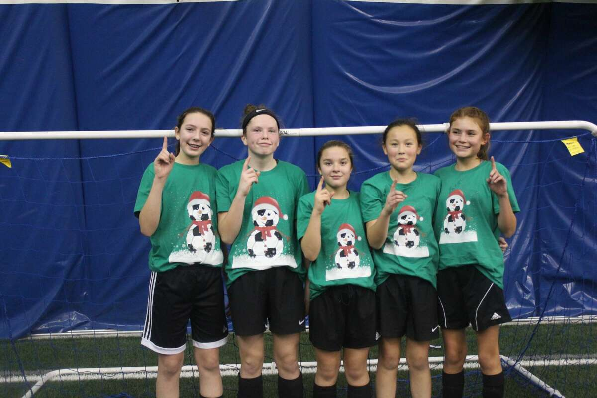 Former travel soccer teammates (from left) Bailee Mantei, Kennedy Caldwell, Maddy Estes, Lauren Gunn, and Kassy Wells pose together following a 3-on-3 tournament during their formative years. Mantei, who died in a car accident in 2018 at the age of 14, is being honored this Saturday at the Bailee Mantei Foundation 3v3 Soccer Tournament at the Midland Soccer Complex.