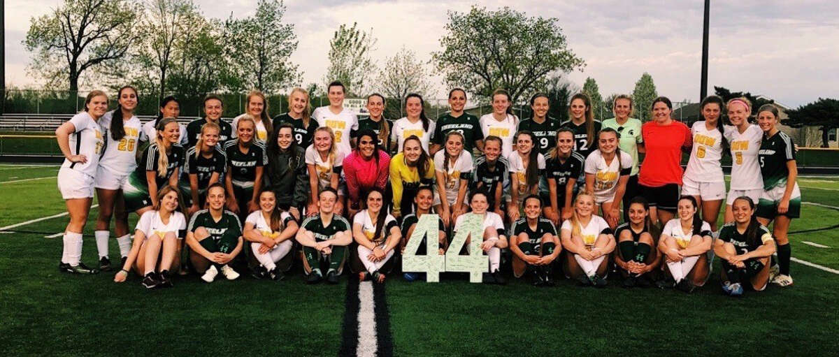 Dow High and Freeland's soccer teams get together to honor the late Bailee Mantei following a game in the spring of 2019.