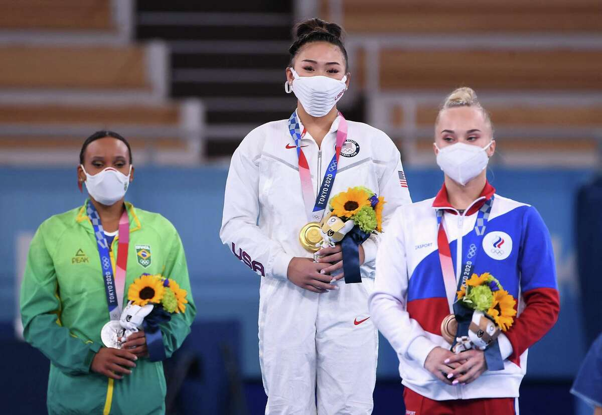U.S. gymnast Sunisa Lee celebrates the gold medal in the women's individual all-around final at the 2020 Tokyo Olympics on Thursday, July 29, 2021 in Tokyo, Japan. (Wally Skalij/Los Angeles Times/TNS)