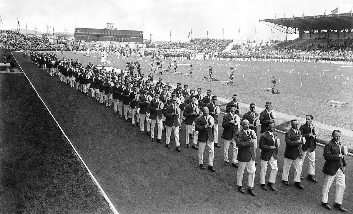 Athletes march during the opening ceremony of the 1924 Olympic Games. Among those competing in Paris was Raymond Coulter of Mount Sterling, who earned two medals in team shooting.
