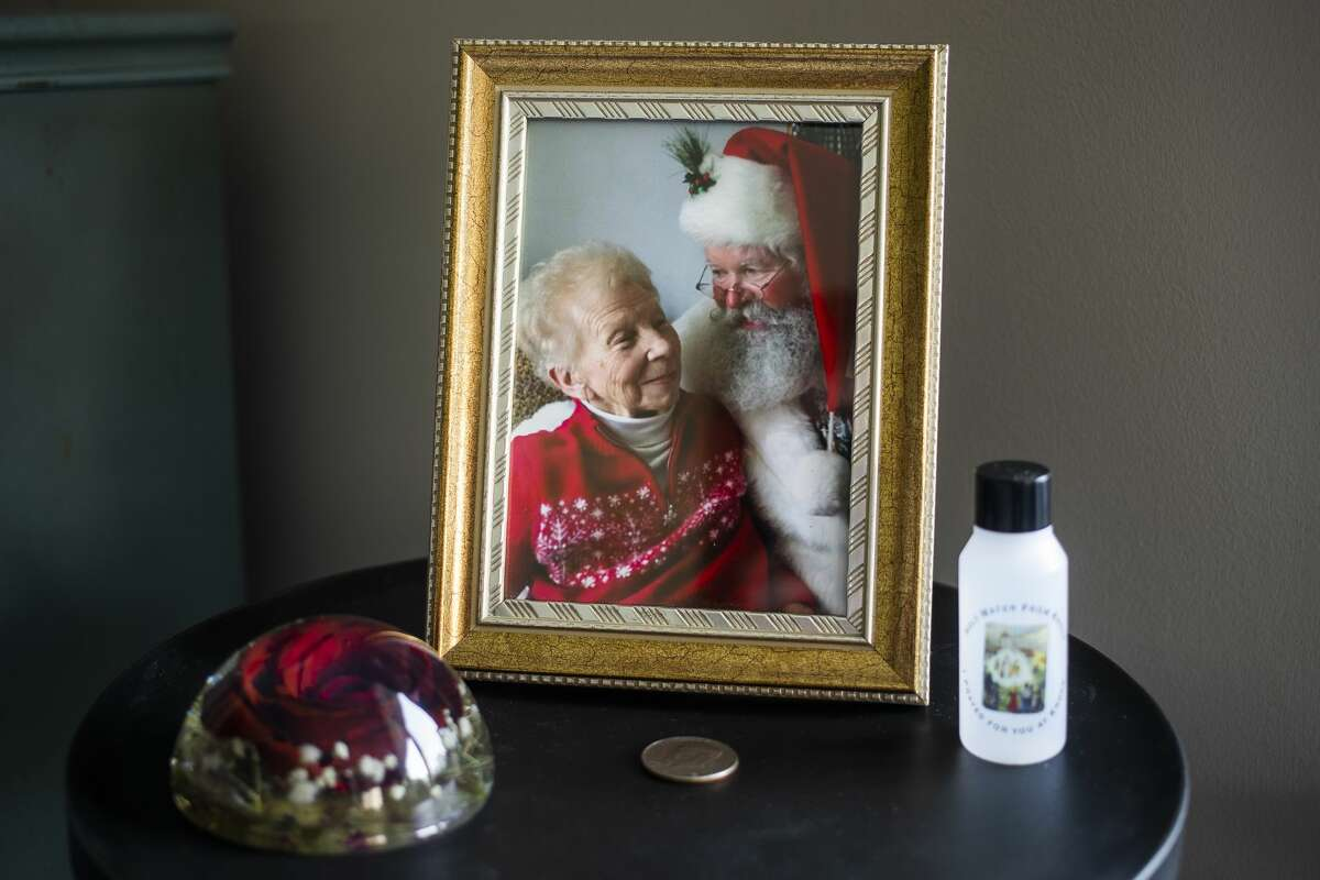 A photo of Rose Castaneda, who died in July of 2020, is framed inside the home of her daughter, Barb Smith of Saginaw. (Katy Kildee/kkildee@mdn.net)