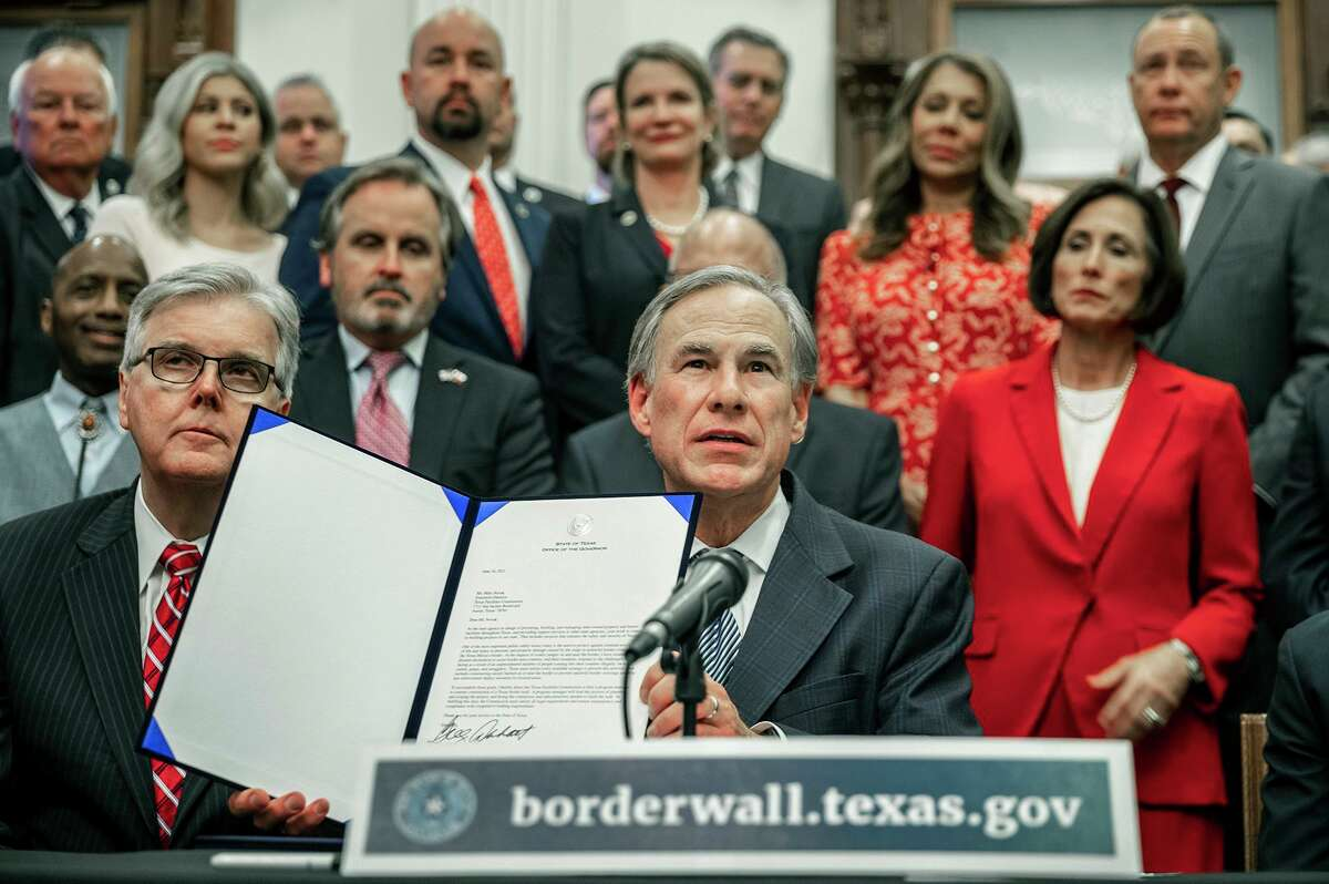 """Gov. Greg Abbott talks about n details of his plan for Texas to build a border wall and provide $250 million in state funds as a """"down payment"""" during a June 16 news conference."""