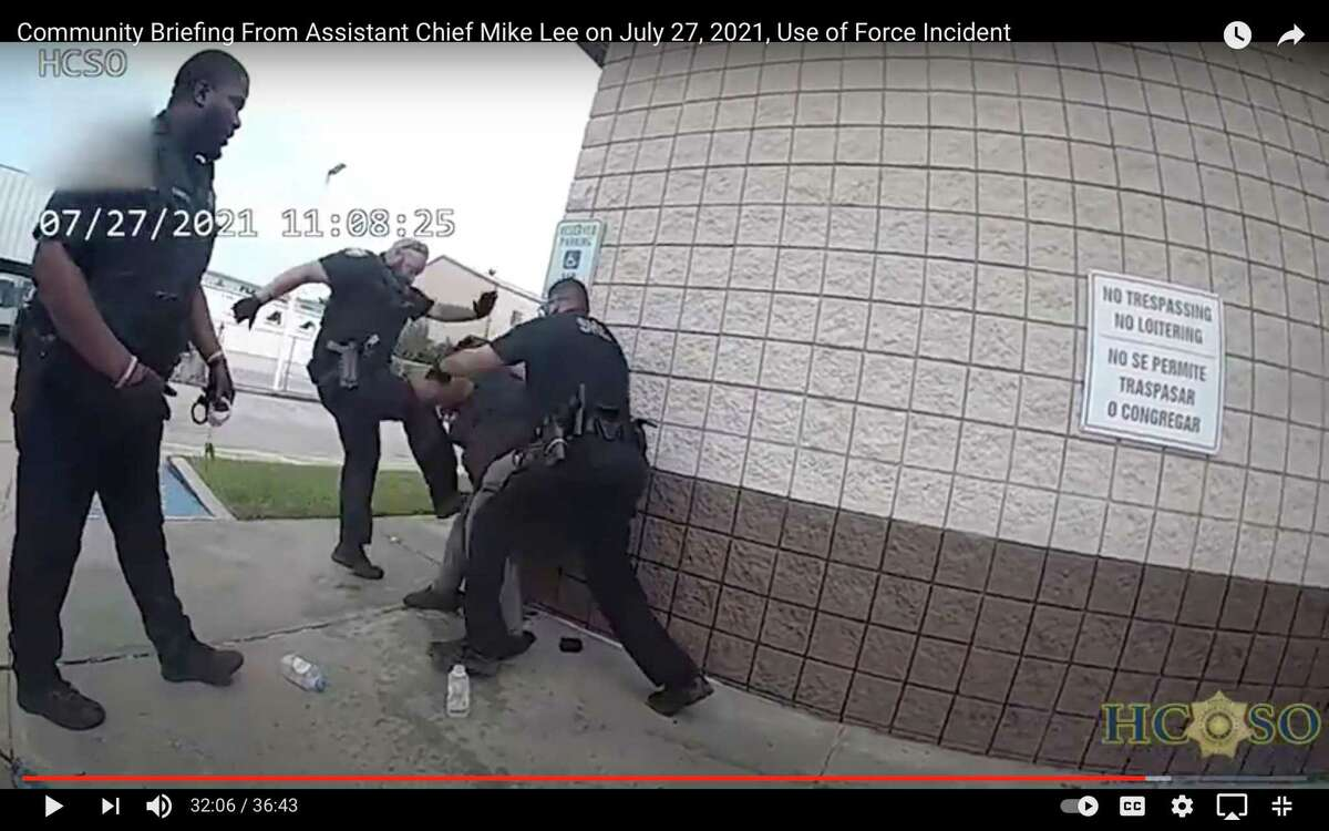 This is a screen shot of Harris County Sheriff's Office body camera footage taken when authorities were attempting to arrest a woman on July 27, 2021.