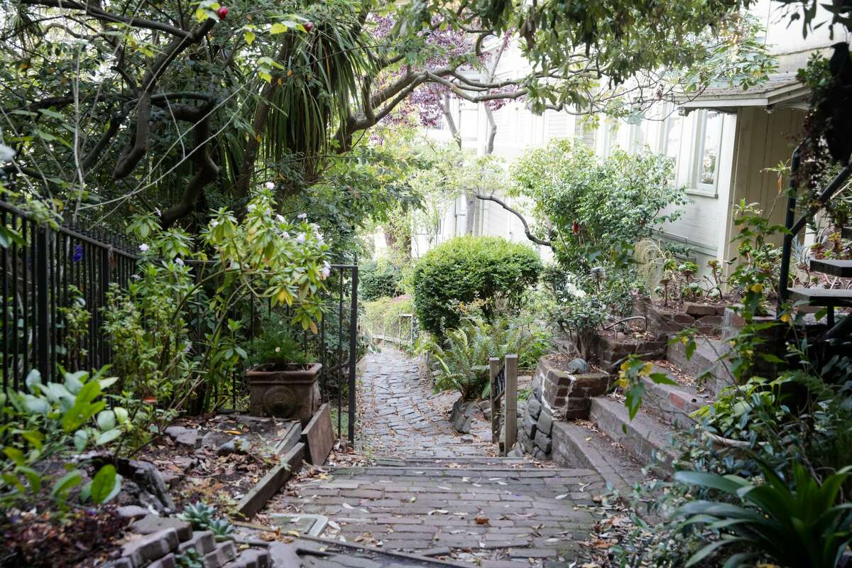 A view of the steps on Macondray Lane, an alleyway in San Francisco, Calif. on August 6, 2021.