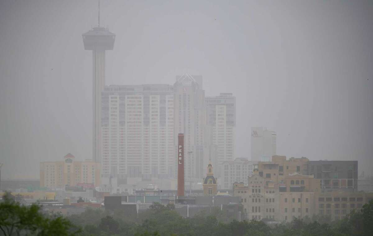 Downtown San Antonio is seen in June 2020 through a haze created by dust that traveled across the Atlantic Ocean from the Sahara desert. The Saharan dust will arrive again soon.