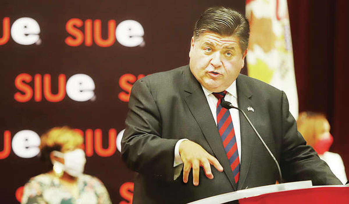 Gov. J.B. Pritzker talks Thursday at Southern Illinois University Edwardsville during a stop to sign new legislation which removes financial barriers to feminine hygiene products for women and girls.