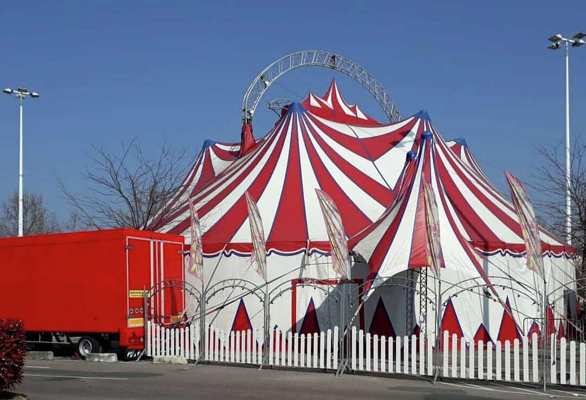 An intimate, European circus tent where Circus Kirkus takes place.