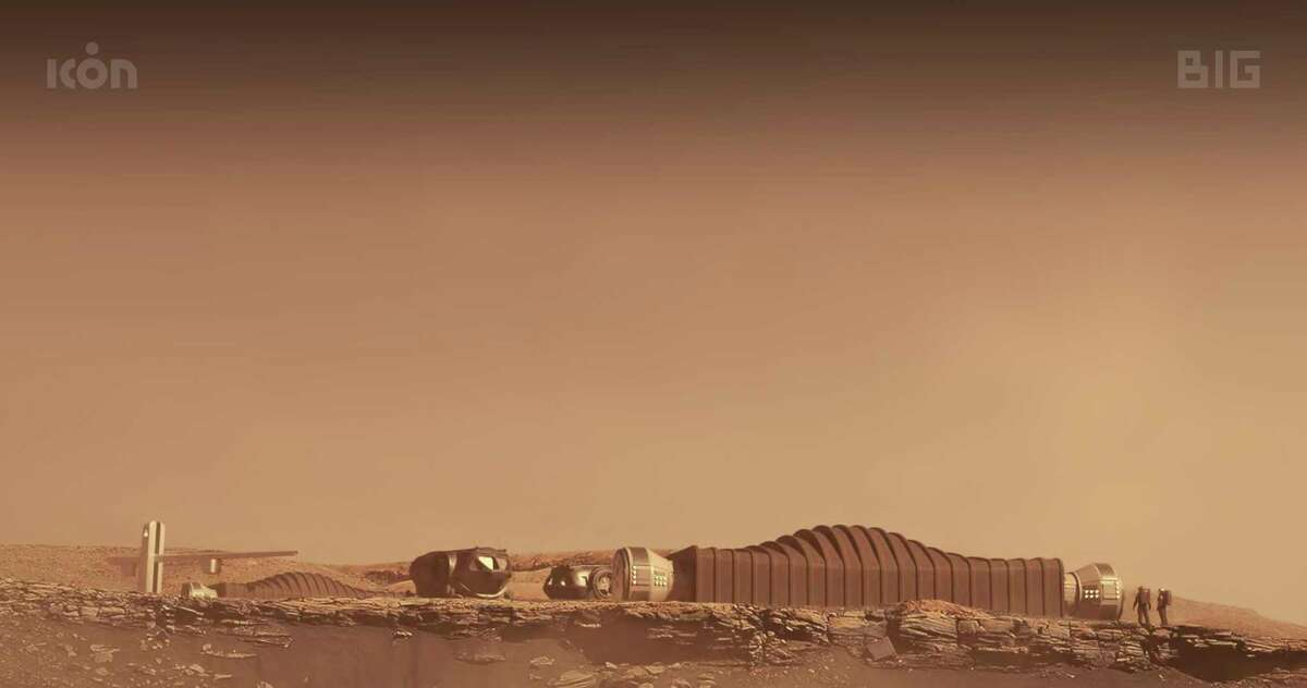 This photo provided by ICON and NASA in August 2021 shows a proposal for the Mars Dune Alpha habitat on Mars. To prepare for eventually sending astronauts to Mars, NASA began taking applications Friday, Aug. 6, 2021, for four people to live for a year in Mars Dune Alpha - a 1,700-square-foot Martian habitat, created by a 3D-printer, and inside a building at Johnson Space Center in Houston. The paid volunteers will work a simulated Martian exploration mission complete with spacewalks, limited communications back home, restricted food and resources and equipment failures. (ICON/NASA via AP)