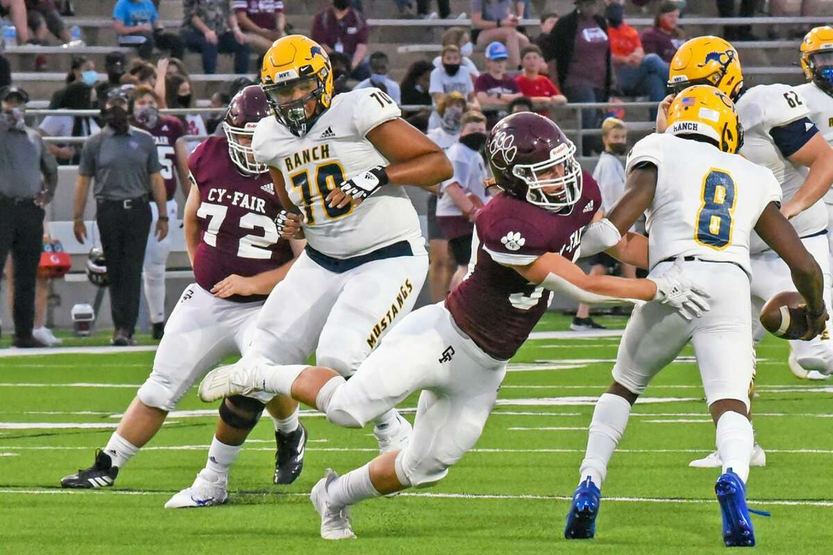 Cypress Ranch High School senior offensive lineman Bryce Simpson (No. 70) joined four other CFISD football standouts in being named to the Touchdown Club of Houston 2021 UIL High School Preseason Football Team.
