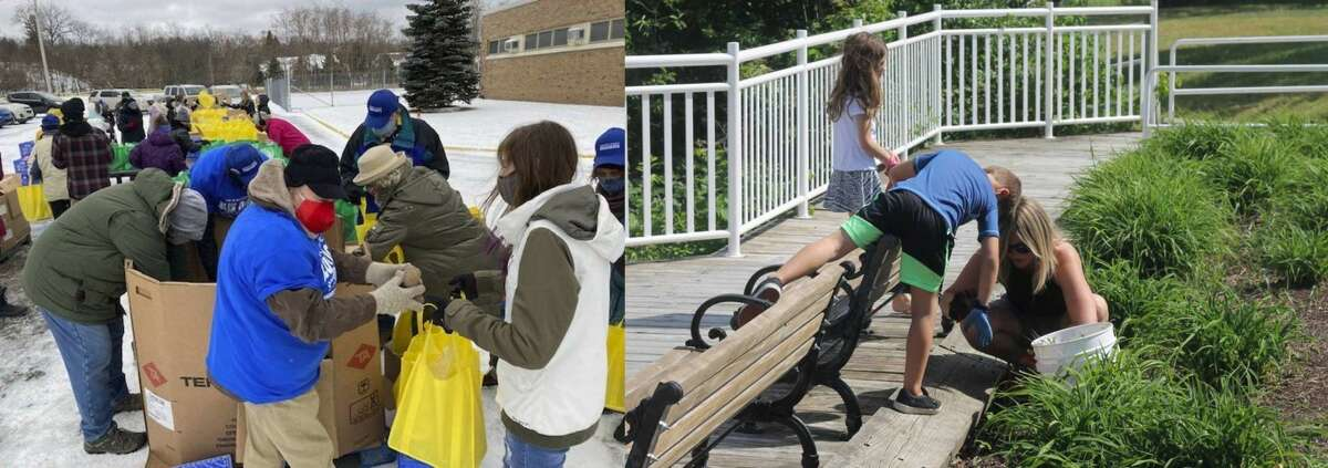 Local service organizations like the Armory Youth Project (left) and other civic groups like Manistee Proud (right) rely on many volunteers to serve the community.