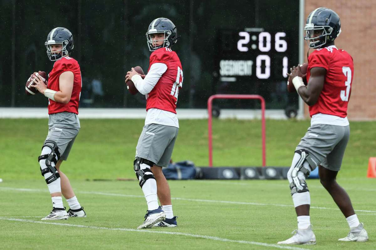 Rice coach Mike Bloomgren said both QBs Wiley Green, far left, and Luke McCaffrey, middle, will play in Saturday's opener.