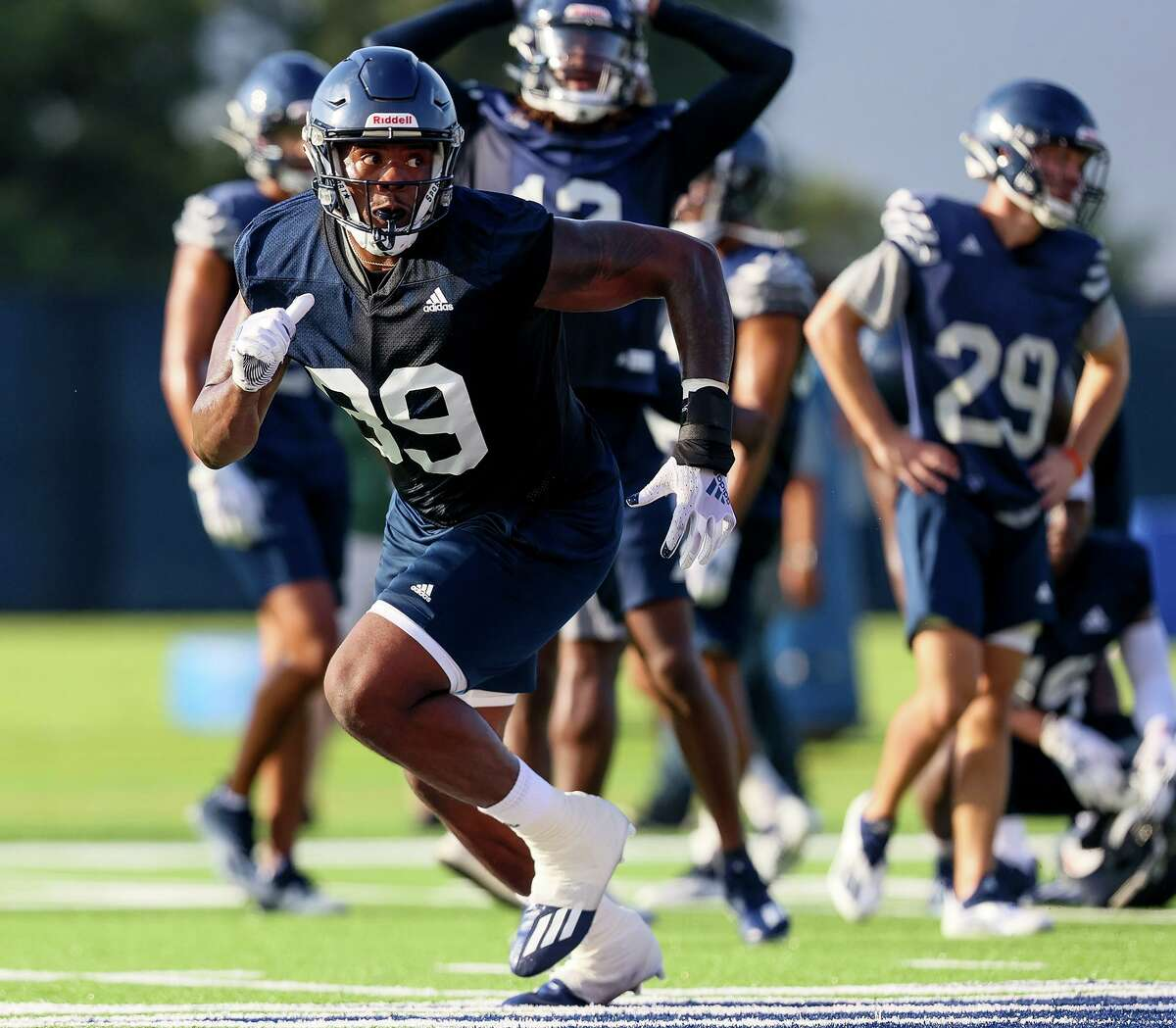 UTSA tight end Leroy Watson runs a route during passing drills in their first football practice of fall camp at the practice fields of the RACE facility on campus on Friday, Aug. 6, 2021.