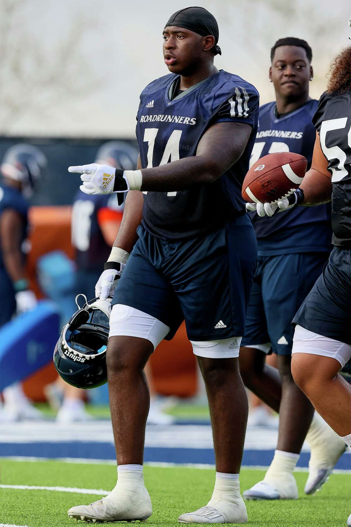 UTSA offensive lineman Spencer Burford, a senior from Wagner high school, during their first football practice of fall camp at the practice fields of the RACE facility on campus on Friday, Aug. 6, 2021.