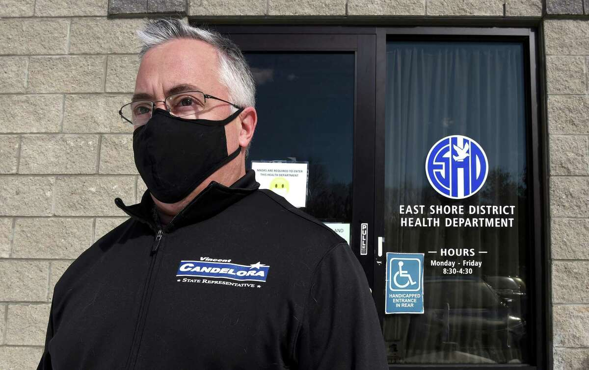 State Rep. Vincent Candelora in front of the East Shore District Health Department in Branford on Feb. 4.