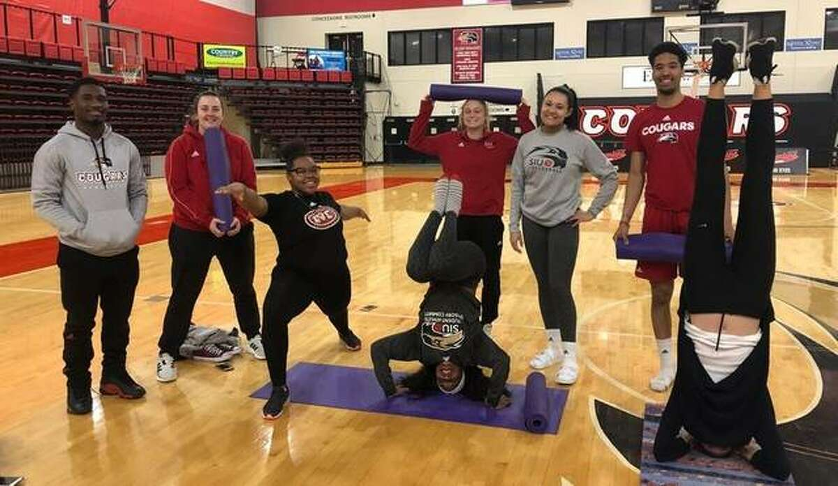 SIUE athletes gather during the Ohio Valley Conference's Mental Health Awareness Week in 2019.