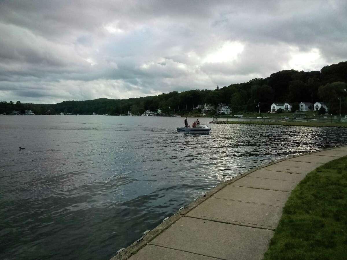 The Board of Selectmen are updating ordinances for Highland Lake. Pictured, a small craft heads to shore near the lake's boat launch.