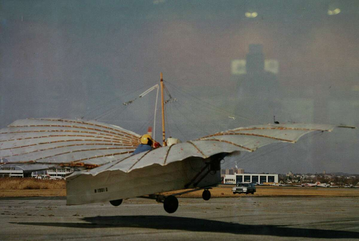 A photograph by Morgan Kaolian of Andy Kosch flying his Gustave Whitehead plane at Sikorsky Airport in Stratford in 1986