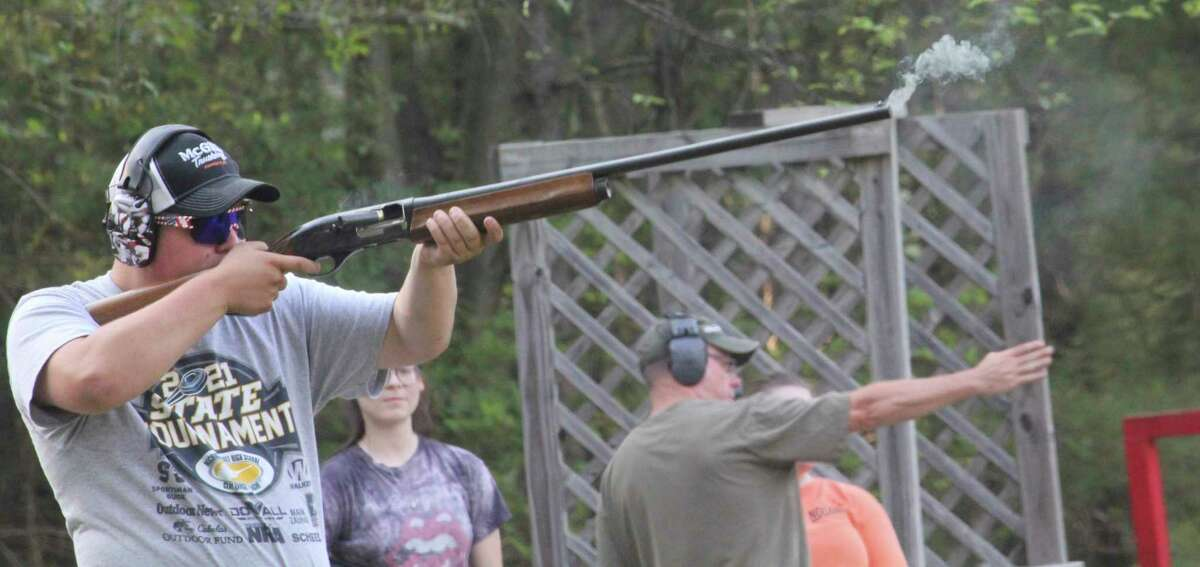 Big Rapids' Aiden Zimmerman takes aim during Thursday shooting competition at the Mecosta County Rod & Gun club. (Pioneer photo/John Raffel)