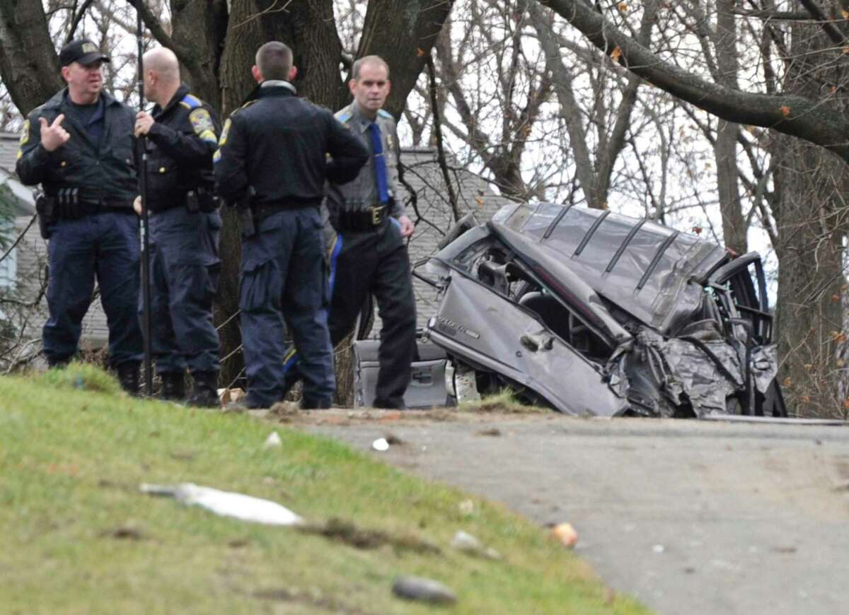 The aftermath of a crash involving a stolen car in Danbury, in a 2016 file photo.