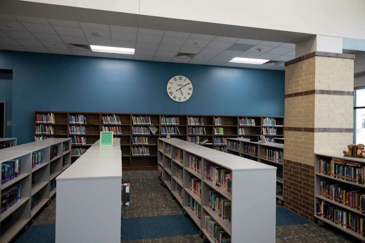The library is seen inside Grand Lakes Junior High during a ribbon cutting ceremony, Friday, Aug. 6, 2021, in Tomball.