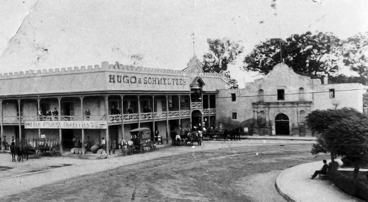 The Hugo & Schmeltzer general store, shown here in the 1880s, was located next to the Alamo in the Long Barrack/convent building, before the upper story was removed in 1913. Schmeltzer, a prominent businessman whose family owned property north of the city, is probably the namesake of Schmeltzer Lane off West Avenue.