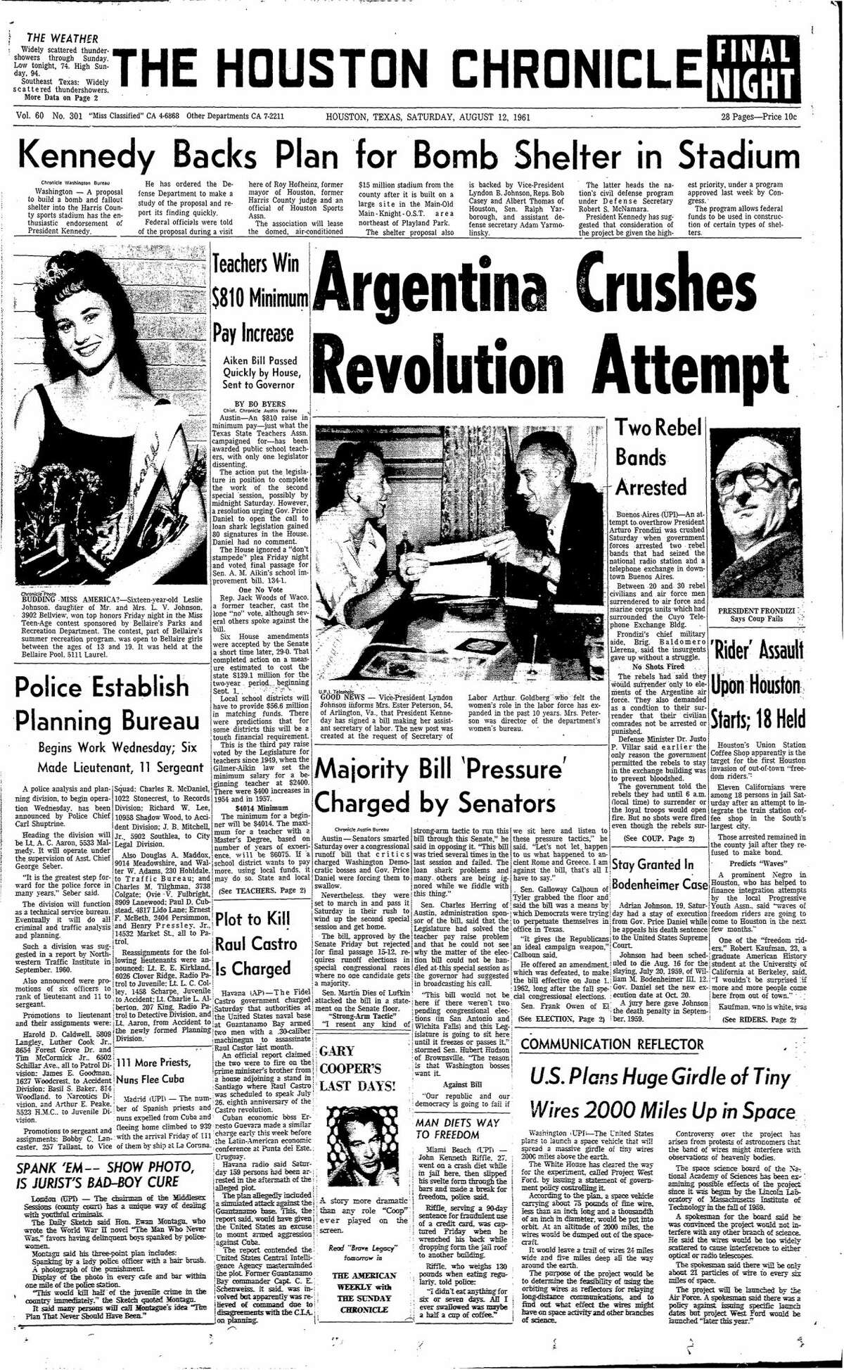 Houston Chronicle front page from Aug. 12, 1961.