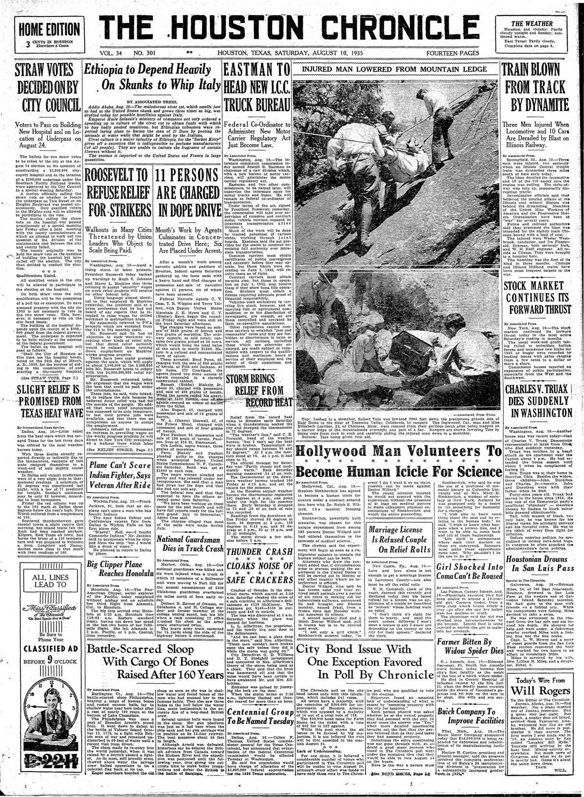 Houston Chronicle front page from Aug. 10, 1935.
