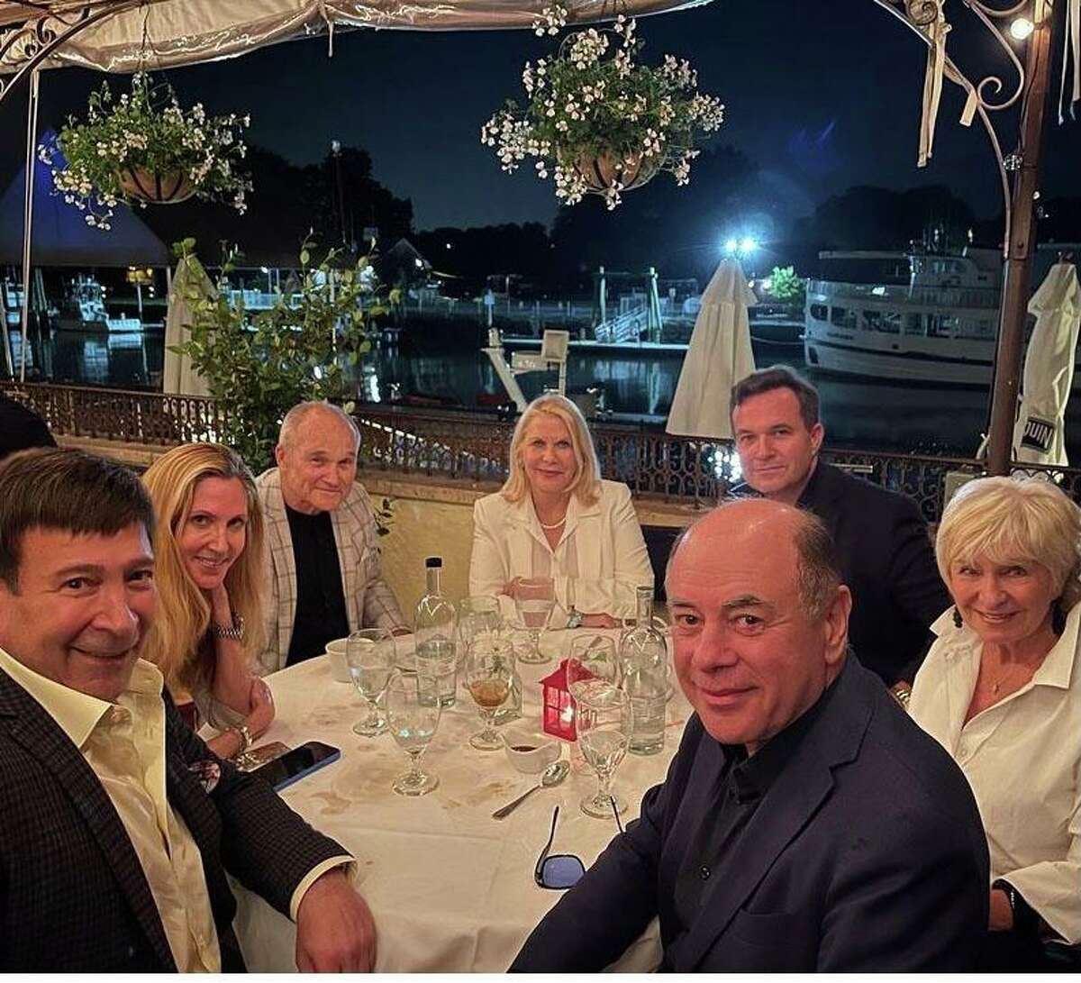WOR radio host Mark Simone; conservative media pundit, author and lawyer Ann Coulter; former New York City police Commissioner Ray Kelly; women's rights activist/philanthropist Francine LeFrak; Greg Kelly, host of 'Greg Kelly Reports' on Newsmax TV, and his mother, Veronica Kelly; and director/screenwriter Rick Friedberg dine on the patio at L'Escale in Greenwich last weekend.