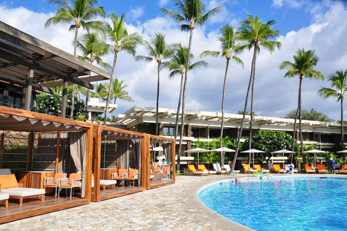 Beachfront pool at Mauna Kea Beach Hotel on the Island of Hawaii