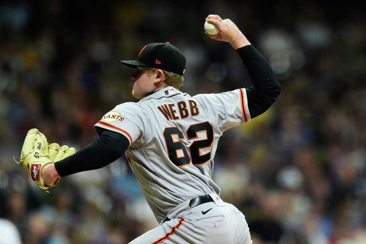 MILWAUKEE, WISCONSIN - AUGUST 06: Logan Webb #62 of the San Francisco Giants pitches against the Milwaukee Brewers in the second inning at American Family Field on August 06, 2021 in Milwaukee, Wisconsin. (Photo by Patrick McDermott/Getty Images)