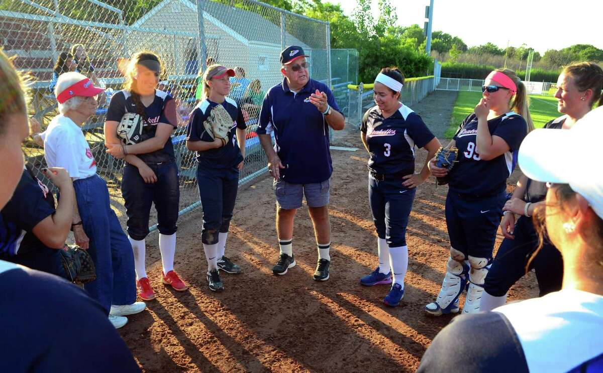 Brakette's Manager John Stratton speaks with the team before going up against Rock Gold for softball action at DeLuca Field in Stratford, Conn., on Saturday July 15, 2017.