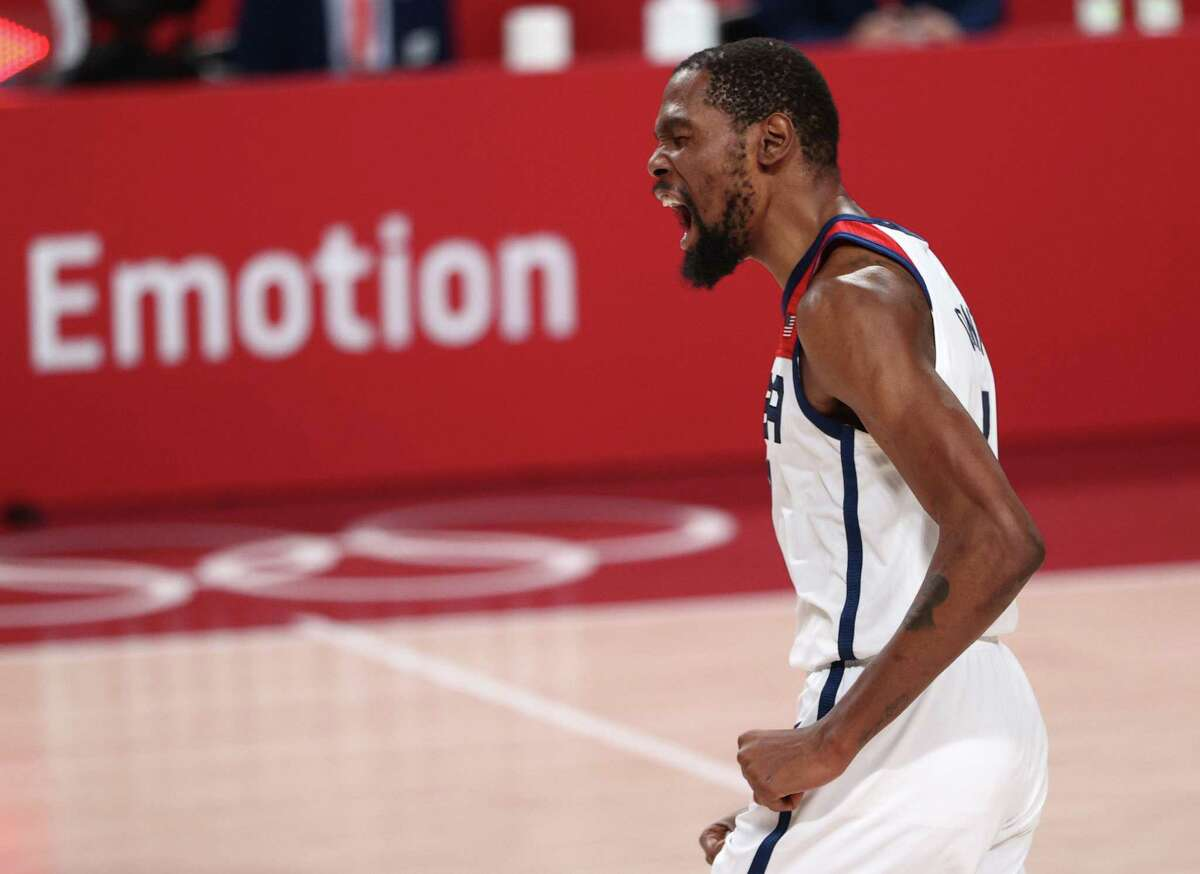 SAITAMA, JAPAN - AUGUST 07: Kevin Durant #7 of Team United States reacts during the second half of a Men's Basketball Finals game between Team United States and Team France on day fifteen of the Tokyo 2020 Olympic Games at Saitama Super Arena on August 07, 2021 in Saitama, Japan. (Photo by Ezra Shaw/Getty Images)
