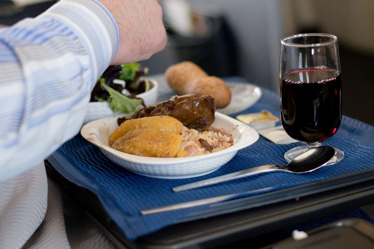 Photo of business class airplane meal
