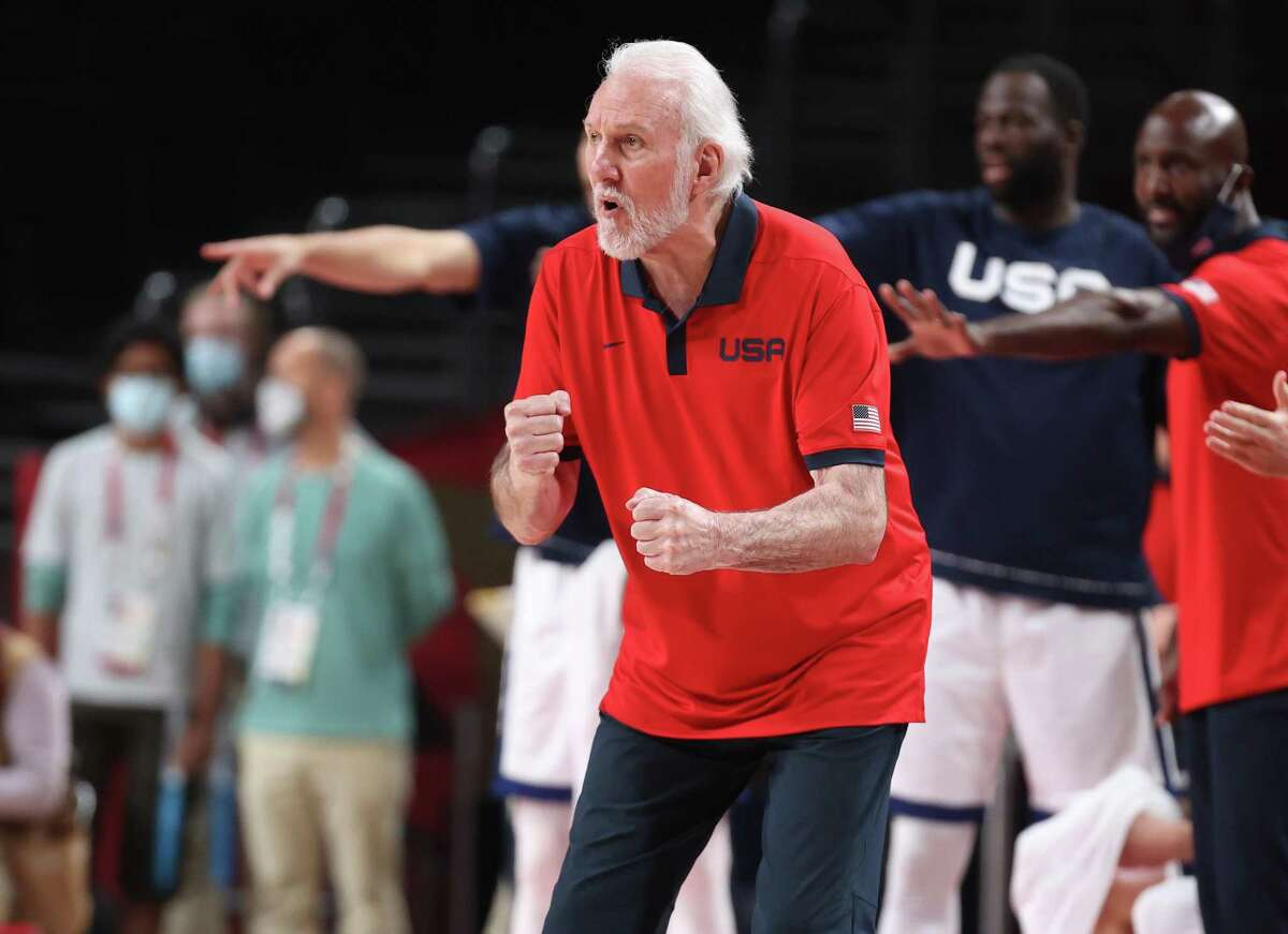 SAITAMA, JAPAN - AUGUST 07: Team United States Head Coach Gregg Popovich cheers on his team from the bench during the second half of a Men's Basketball Finals game between Team United States and Team France on day fifteen of the Tokyo 2020 Olympic Games at Saitama Super Arena on August 07, 2021 in Saitama, Japan. (Photo by Gregory Shamus/Getty Images)