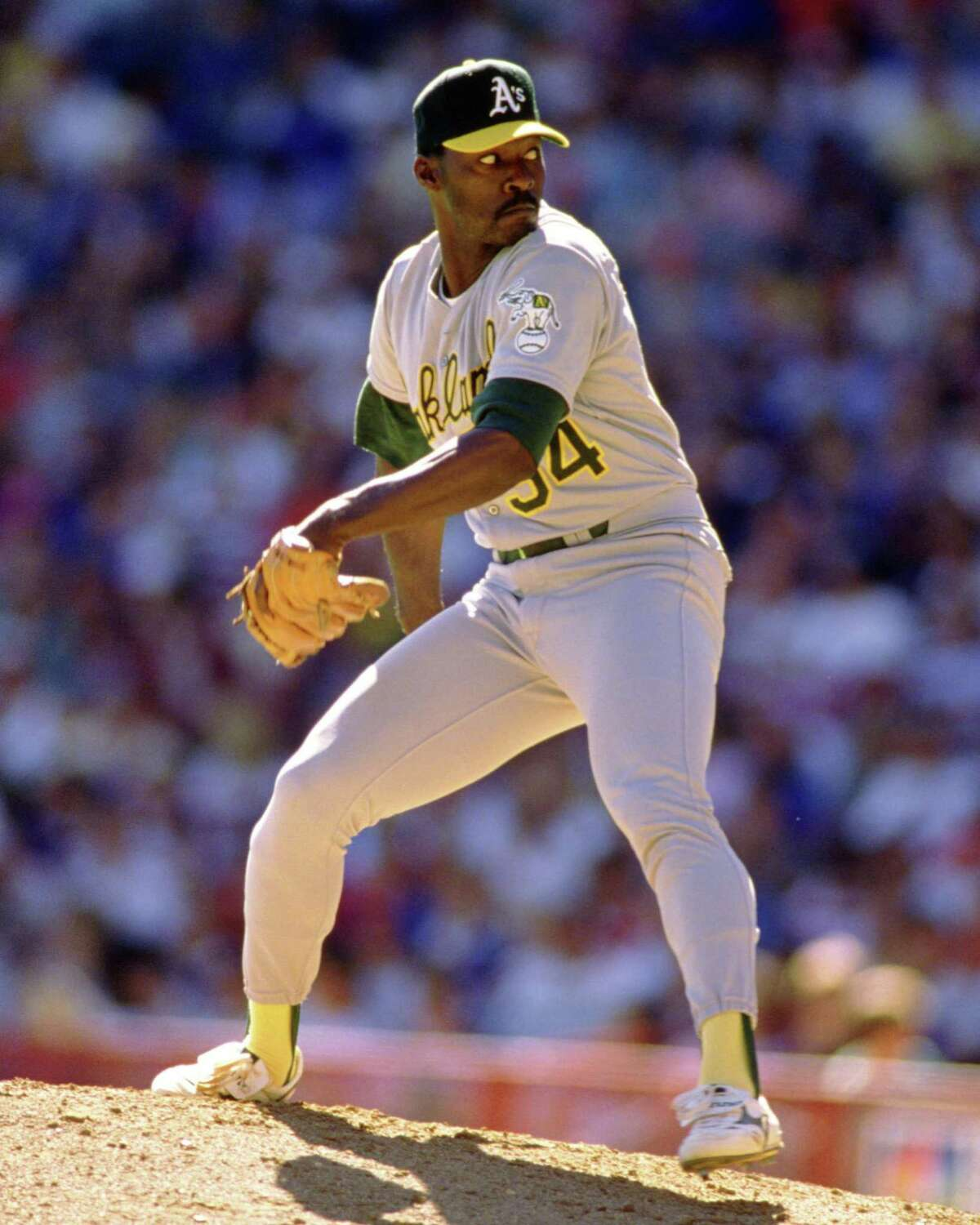 MILWAUKEE - 1988: Dave Stewart of the Oakland Athletics pitches during an MLB game versus the Milwaukee Brewers at County Stadium in Milwaukee, Wisconsin during the 1988 season. (Photo by Ron Vesely/MLB Photos via Getty Images)