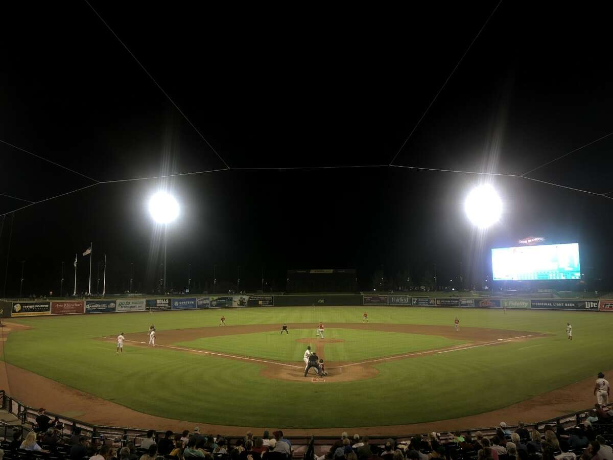 Dow Diamond at night on Aug. 4, 2021 as the Loons played the Fort Wayne TinCaps.
