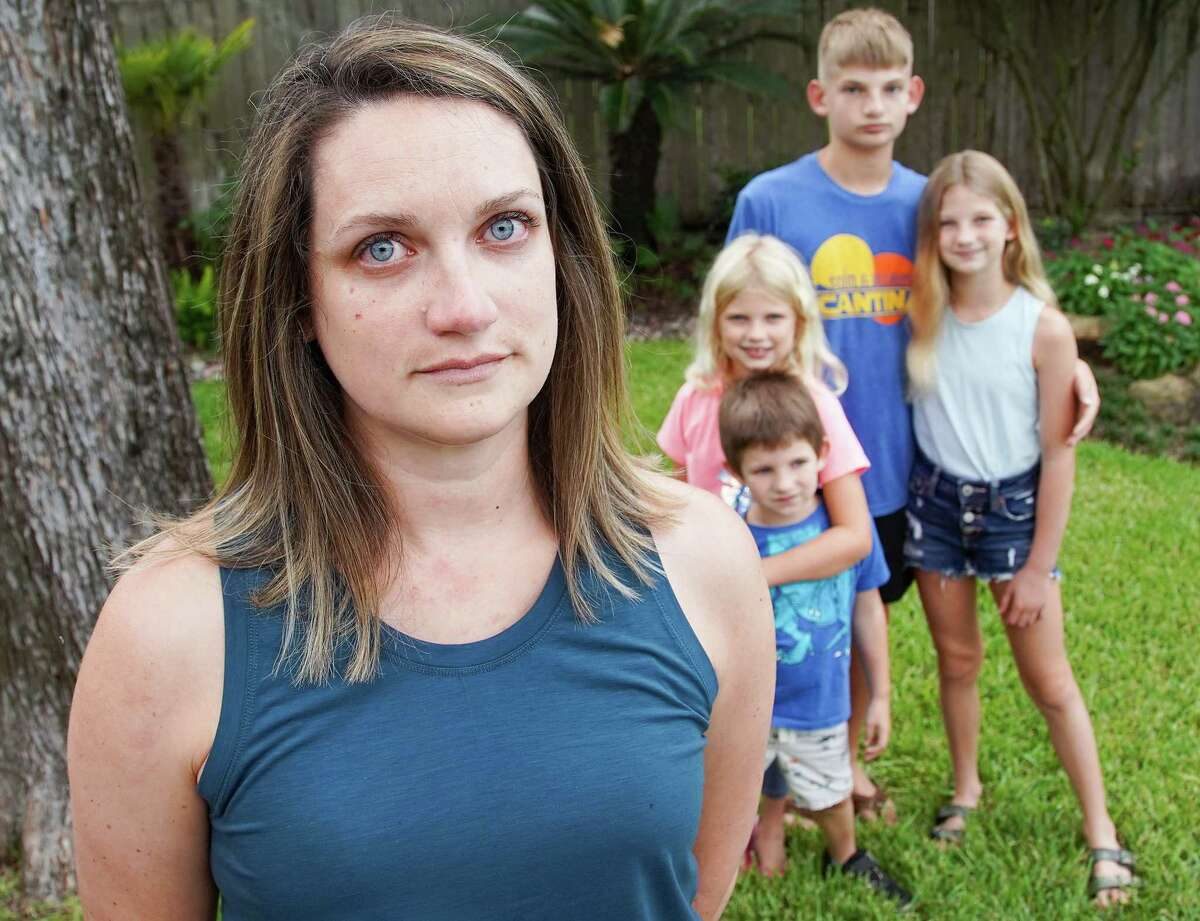 Theresa Rieber, who worked as a registered nurse in a COVID unit in the Texas Medical Center last summer, fears it's only a matter of time before one of her kids - Molly, 7, Beckett, 5, Jackson, 12, and Abby, 11 - contracts the virus or comes into contact with an infected person.