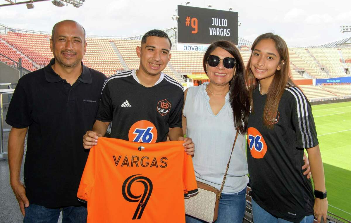 Houston area siblings Julio Vargas, second to left, and Sofia Garcia, far right, were signed to the 2021 Houston Dynamo FC United Team. The squad will compete in a Special Olympics soccer match against the FC Dallas Unified Team on Sept. 18.