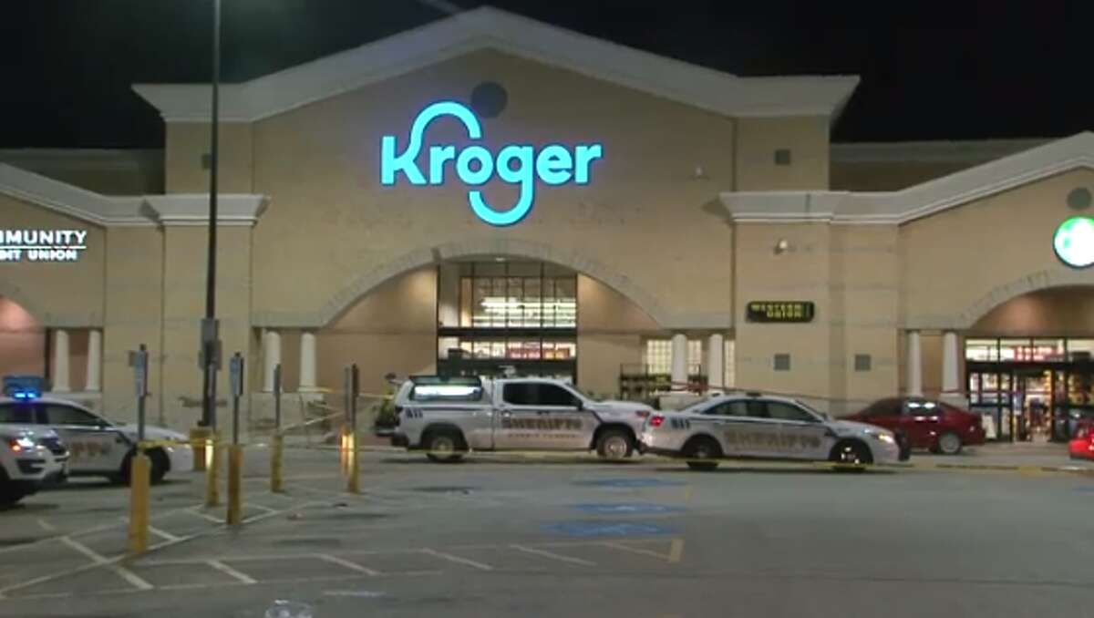 Authorities are searching for multiple suspects involved in a Friday night shooting outside a Kroger store north of Jersey Village.