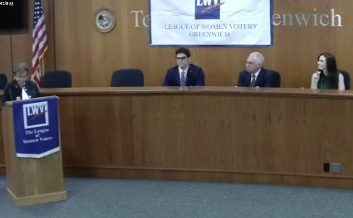 The three candidates running for the 36th Senate District meet Friday night in a forum put together by the League of Women Voters chapters in Greenwich, Stamford and New Canaan. From left, Republican Ryan Fazio, petition candidate John Blankley and Democrat Alexis Gevanter all took part in the forum.