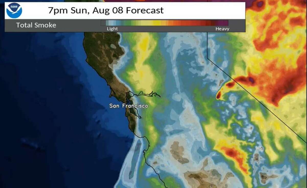 The National Weather Service shows the shifting smoke forecast for the Bay Area on Saturday, Aug. 7, 2021.