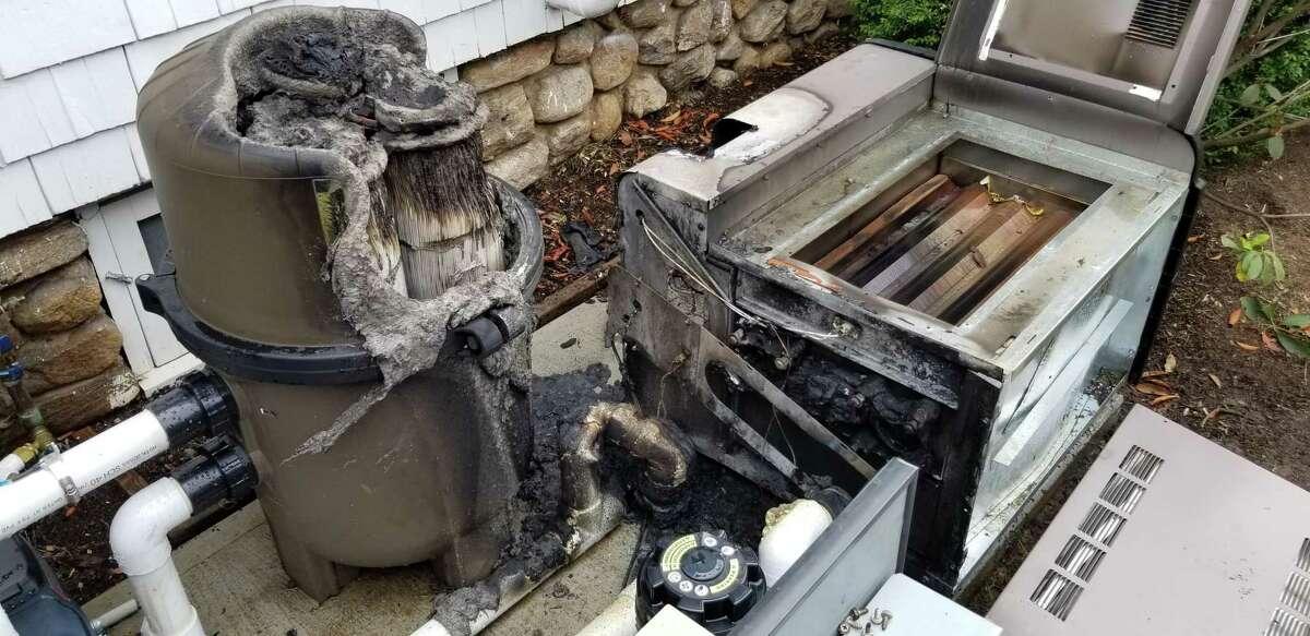 Pool equipment caught fire Saturday morning in Westport.