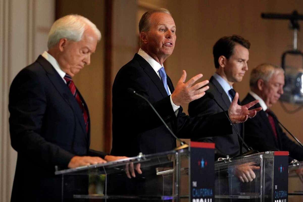Republican gubernatorial candidates John Cox (left), Kevin Faulconer, Kevin Kiley and Doug Ose participate in a debate at the Richard Nixon Presidential Library on Wednesday in Yorba Linda. The state Republican Party opted not to endorse one of the party's candidates in a strategic move to improve the chances of recalling Gov. Gavin Newsom in a special election next month.