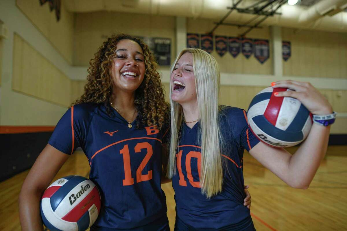Brandeis volleyball players Carlee Pharris and Jalyn Gibson, two of the area's best.