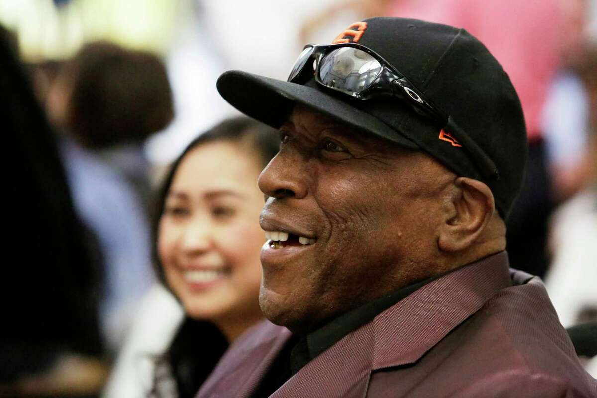 Willie McCovey laughs in the crowd during a ceremony honoring the greats of the SF Giants and 49ers on Sunday, April 23, 2017, in San Francisco, Calif.