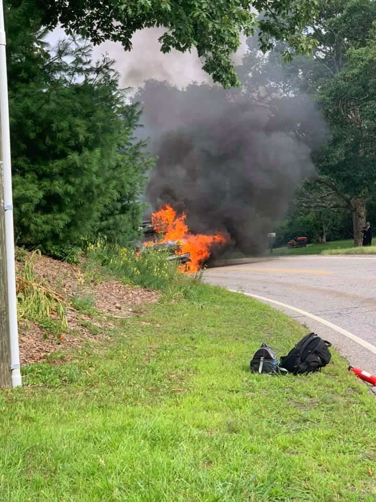Morris firefighters put out a bus fire on Route 109 Saturday, according to the department.
