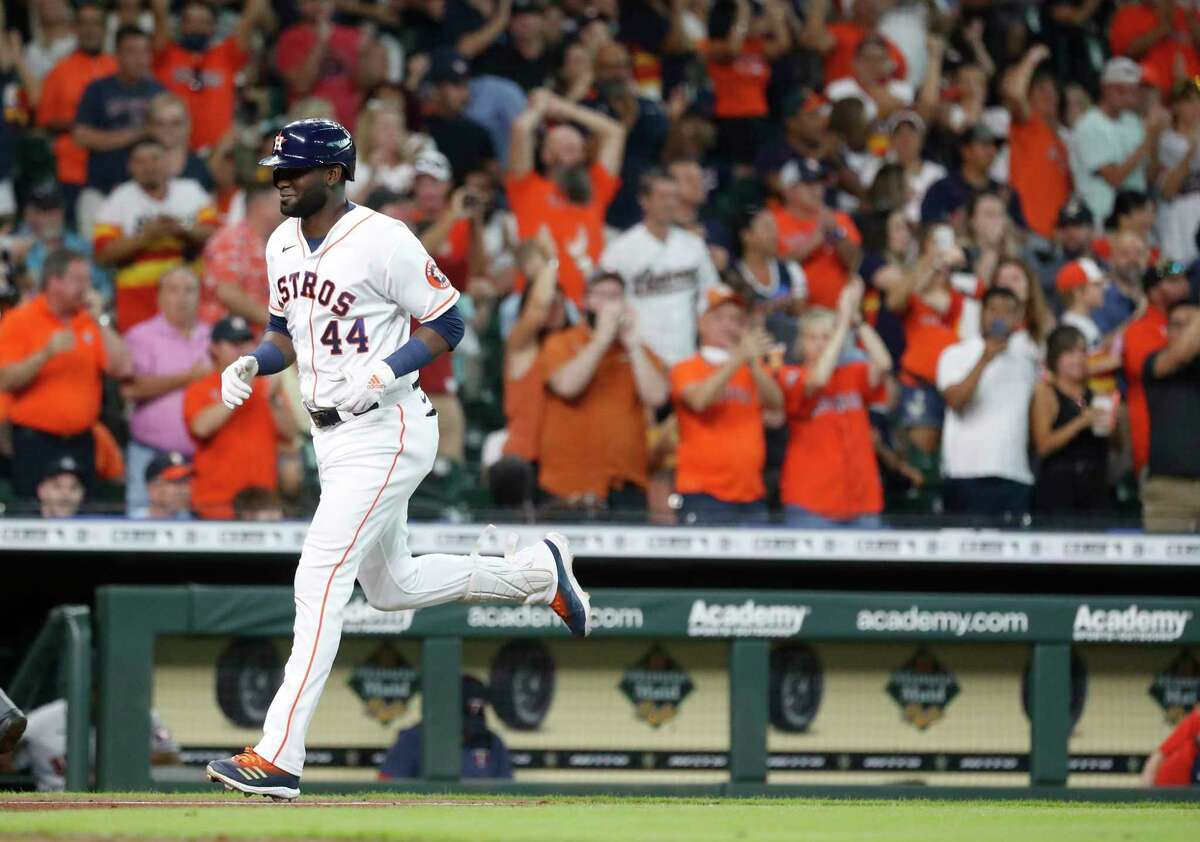Houston Astros designated hitter Yordan Alvarez (44) runs the bases after hitting his 22nd home run of the season off of Minnesota Twins starting pitcher Michael Pineda during the fourth inning of an MLB baseball game at Minute Maid Park, Saturday, August 7, 2021, in Houston.