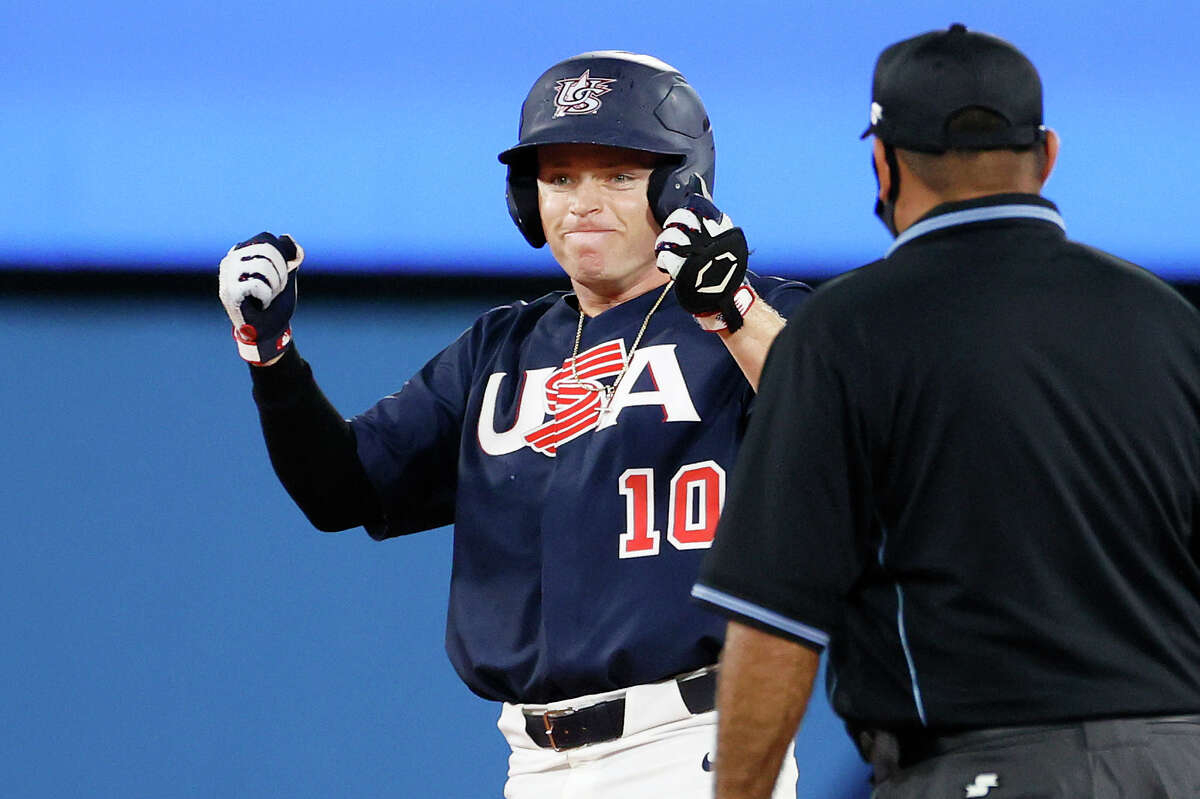 Infielder Nick Allen (10) of Team United States hits a double in the seventh inning against Team Japan during the gold medal game between Team United States and Team Japan on day 15 of the Tokyo 2020 Olympic Games at Yokohama Baseball Stadium on August 07, 2021 in Yokohama, Kanagawa, Japan. (Photo by Steph Chambers/Getty Images)
