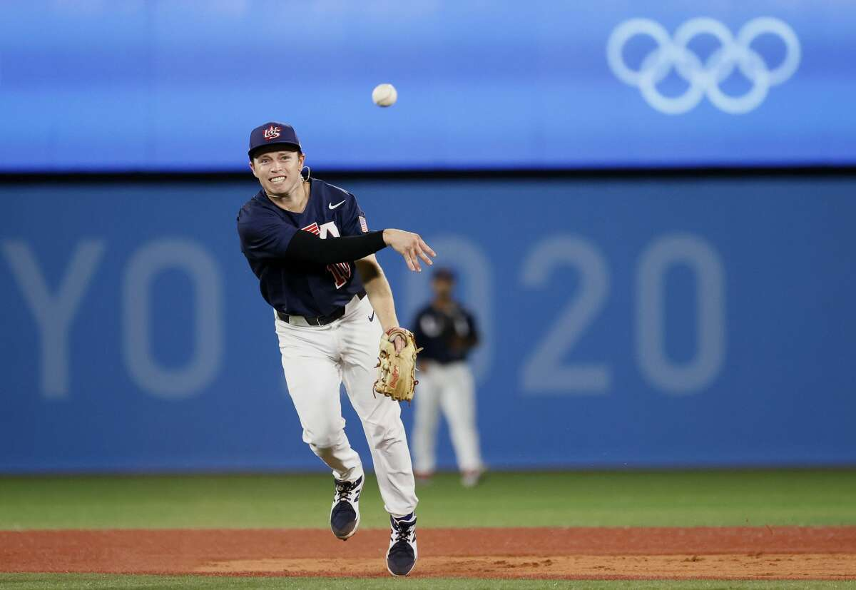 Infielder Nick Allen (10 ) of Team United States throws to the first base after fielding a grounder of Outfielder Masataka Yoshida (34) during the gold medal game between Team United States and Team Japan on day 15 of the Tokyo 2020 Olympic Games at Yokohama Baseball Stadium on August 07, 2021 in Yokohama, Kanagawa, Japan. (Photo by Steph Chambers/Getty Images)