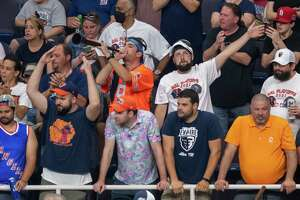 Fans cheer for the Albany Empire against the Carolina Cobras during the National Arena League playoffs at the Times Union Center in Albany, NY, on Saturday, Aug. 7, 2021. (Jim Franco/Special to the Times Union)